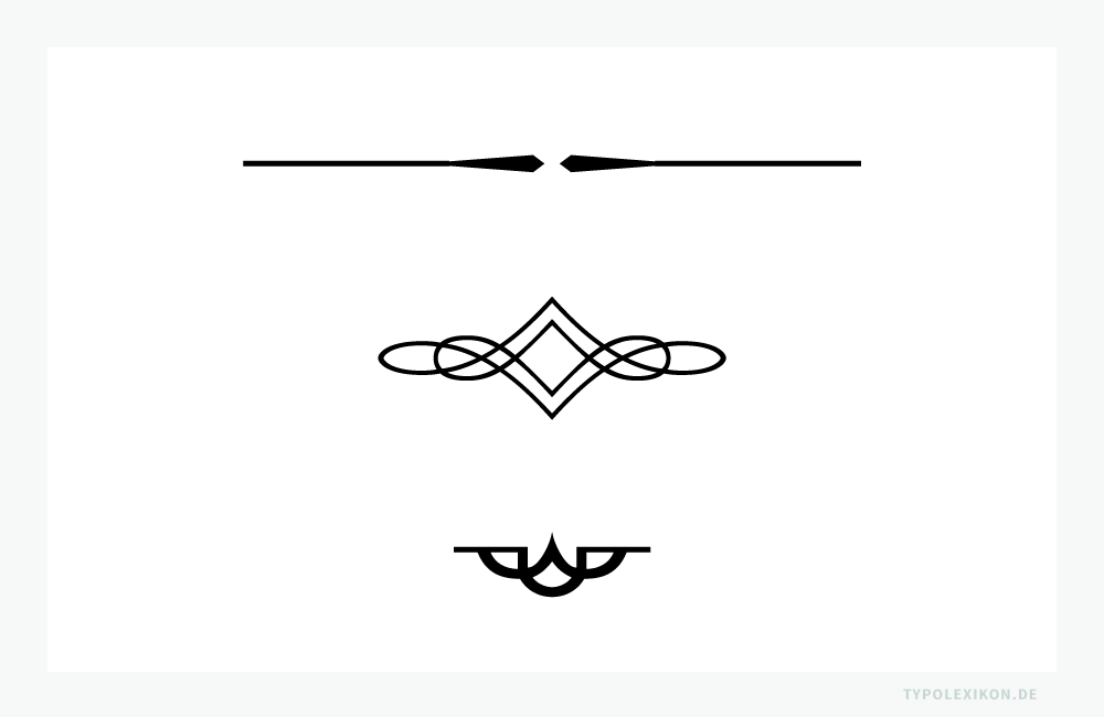 Alineas sind Schmuckzeichen, Zierstücke, Schlußstücke und Schlusslinien zur Textabtrennung. Beispiel gesetzt aus der Linotype Decoration P1 von Linotype. Infografik: www.typolexikon.de