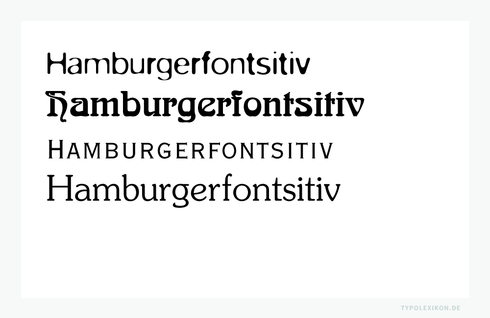 »Antiqua Varianten«. Beispiele gesetzt in der Blur von Neville Brody (*1957), Arnold Böcklin der Schriftgießerei Otto Weisert (1904), Copperplate Gothic von Frederic William Goudy (1865–1947) und Souvenir von Ephram Edward (Ed) Benguiat (*1927).