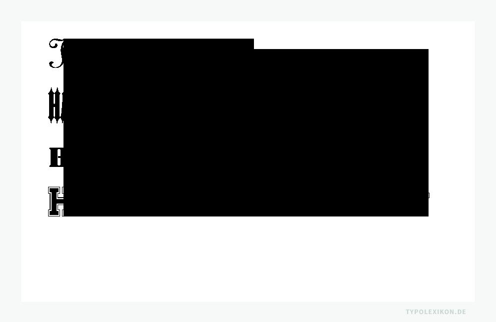 Heute werden u.a. Reklameschriften, Decorative, Schablonenschriften und Sportschriften unter Display Schriften, Display Typefaces oder »Display« gelistet. Beispiele gesetzt in der Linoscript von Morris Fuller Benton, der Ironwood von Joy Redick, der Stencil von Gerry Powell und der Collegiate von Casady & Greene. Infografik: www.typolexikon.de