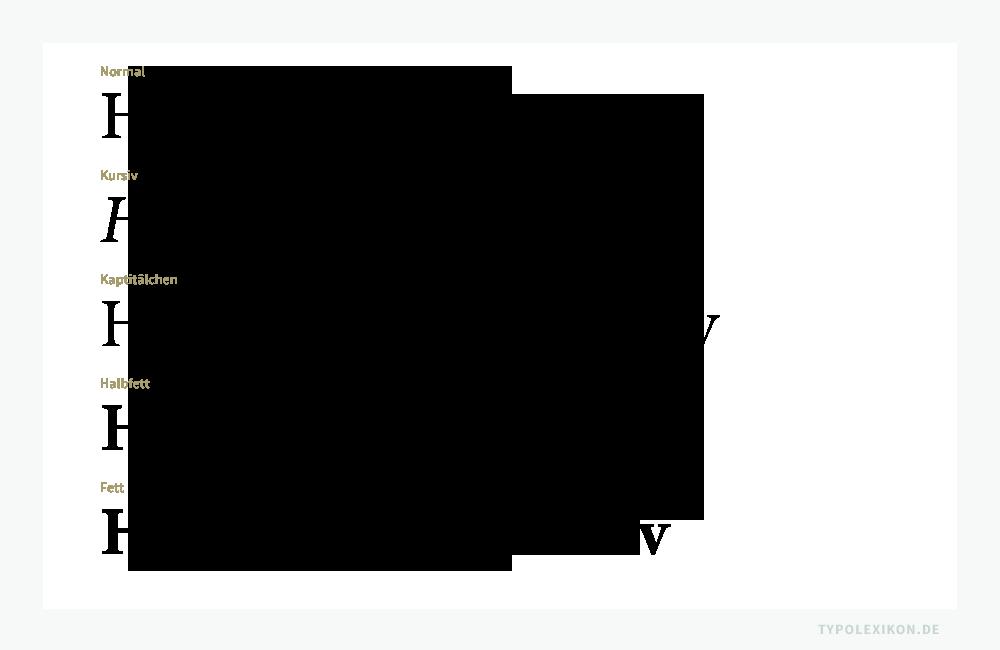 Ein Schriftschnitt ist eine Schriftstilvariante innerhalb einer Schriftfamilie. Dazu zählen beispielsweise der normale, kursive, halblfette und fette Schriftstil sowie die Kapitälchen. Beispiel gesetzt in der Französische Renaissance Antiqua »Minion Pro« von Robert Slimbach (*1956) aus der Linotype Schriftbibliothek. Infografik: www.typolexikon.de
