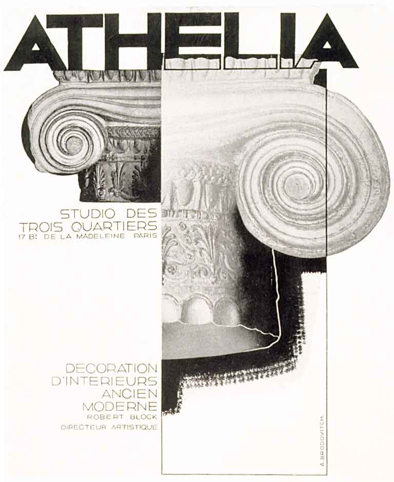 Der neue grafische Stil in der Zeitschriften- und Werbegestaltung. Bildzitat: Athelia aus dem Jahre 1928 von Alexey Cheslavovich Brodovitch (1898–1971). Quelle: Alexy Brodovitch von Kerry William Purcell aus Wikimedia Commons.