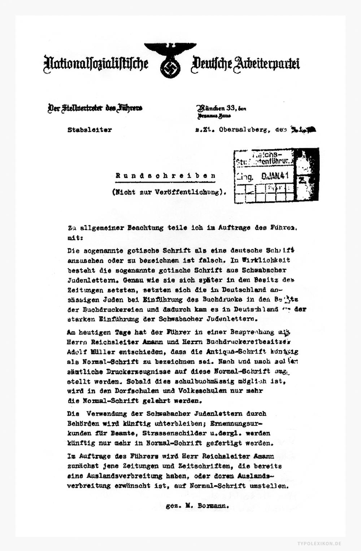Verbot der Fraktur durch die Nationalsozialisten: Schrift-Verdikt vom 3. Januar 1941 auf dem Briefpapier der NSDAP. Gekennzeichnet von Martin Bormann. Quelle: Bundesarchiv Koblenz im Bestand NS 6/334.