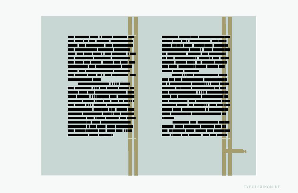 Beispiel eines klassischen Buchkanons mit einem linksbündigen Flattersatz (Rauhsatz). Der Zeilenumbruch erfolgt hier immer nur innerhalb der Flatterzone. Wie breit eine Flatterzone sein soll, ist dagegen eine Frage des persönlichen ästhetischen Empfindens, wobei das natürliche Umbruchverhalten einer Schrift eine der wesentlichen Entscheidungsgrundlagen darstellt. Quelle: www.typolexikon.de