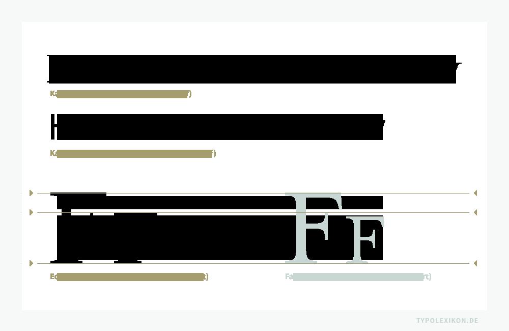 Als Kapitälchen bezeichnet man einen Schriftstil im Dreiliniensystem, dessen Majuskelalphabet aus Großbuchstaben (Majuskeln) von der Grundlinie (Schriftlinie) zur H-Linie (Majuskelhöhe oder Versalhöhe) und dessen Minuskelalphabet aus kleineren Großbuchstaben (Kapitälchen) von der Grundlinie zur x-Linie besteht. Die erste Zeile im Beispiel ist gesetzt in der Mrs Eaves Small Caps von Zuzana Licko, die zweite Zeile in der Meta Plus Book Caps von Erik Spiekermann. Darunter ein Vergleich von echten und falschen Kapitälchen, links gesetzt aus der originalen Mrs Eaves Small Caps und rechts die generierten Form aus der Mrs Eaves Roman. Infografik: www.typolexikon.de