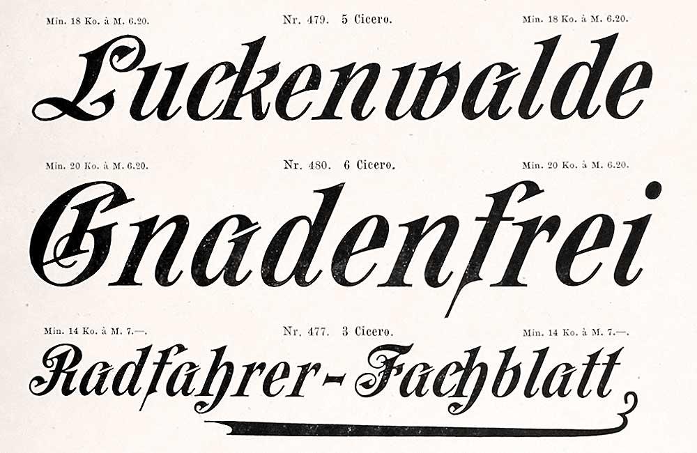 Eine Akzidenzschrift (Zierschrift) aus dem Schriftmusterbuch »Schrift-Proben« der Schriftgießerei Julius Klinkhardt, Leipzig und Wien, Handausgabe, ca. 1885.