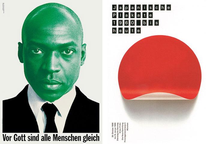 Plakat »Vor Gott sind alle Menschen gleich«, eine Initiative von Pierre Mendell (Entwurf: Pierre Mendell, 1995) und Plakat »Japanische Plakate« für die Neue Sammlung München (Mendell & Oberer, Entwurf: Pierre Mendell, Foto: Klaus Oberer, 1988).