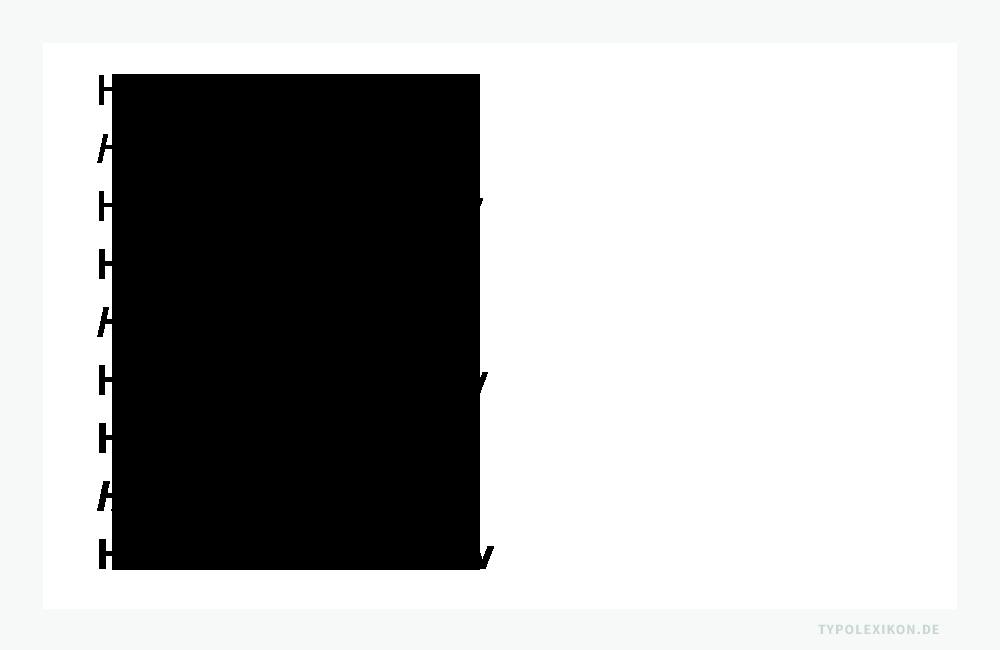 Unterschiedliche Schriftbreiten, Schriftstärken und Schriftlagen, die sich aus der Typometrie des normalen Schriftschnitts (Grundstil) ableiten und gemeinsame Formmerkmale aufweisen, werden als »Schriftfamilie« bezeichnet. Beispiel: Eine kleine Auswahl an Einzelschnitten der Grotesk-Schriftfamilie »Meta Plus« von Erik Spiekermann (* 1947). Von oben: Meta Plus Book Roman, Meta Plus Book Italic, Meta Plus Book Caps, Meta Plus Medium Medium, Meta Plus Medium Italic, Meta Plus Medium Caps, Meta Plus Bold Bold, Meta Plus Bold Bold Italic und Meta Plus Bold Bold Caps.