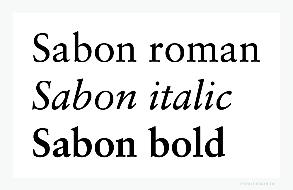 Die »Sabon Antiqua« von Jan Tschichold ist eine Renaissance Antiqua in der Tradition von Claude Garamond. Beispiel gesetzt in der Sabon roman, italic und bold von Linotype®. Infografik: www.typolexikon.de
