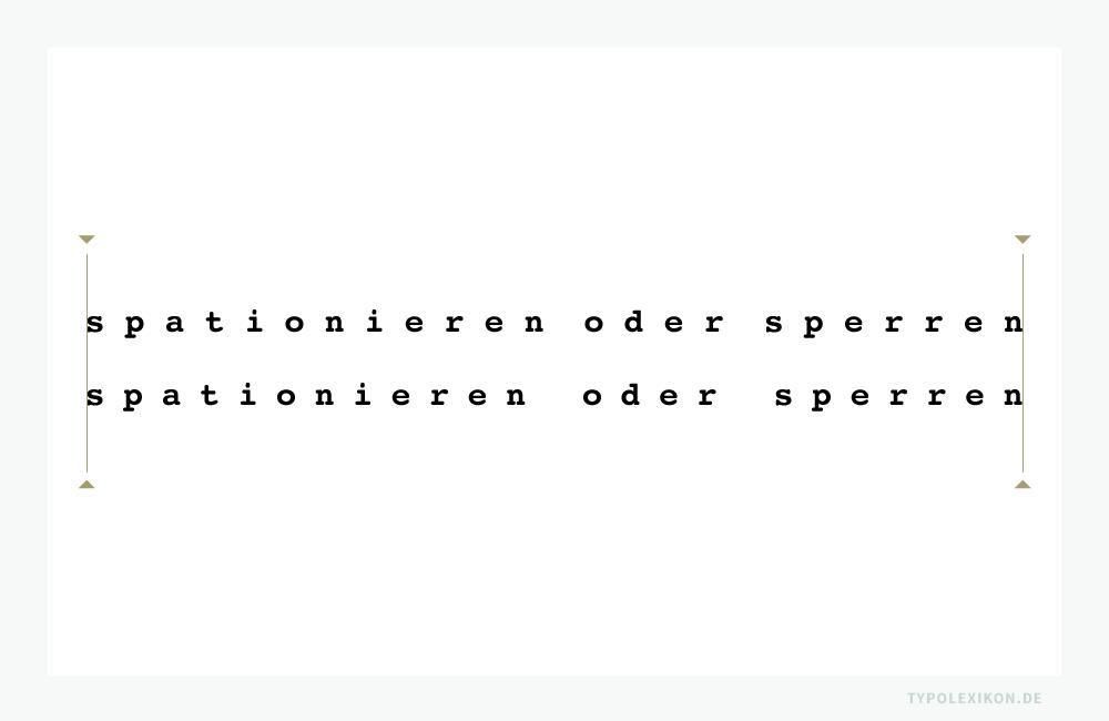 Sperren oder Spationieren? Obere Zeile: Dicktengleiches Sperren der Normalschriftweite (NSW) eines Monospaced Fonts mit Leerraumzeichen. Untere Zeile: Spationieren der NSW des gleichen Monospaced Fonts mit +550/1000 Gevierten. Beispiel gesetzt mit Photoshop® von Adobe® in Courier bold von Apple (Systemschrift). Infografik: www.typolexikon.de
