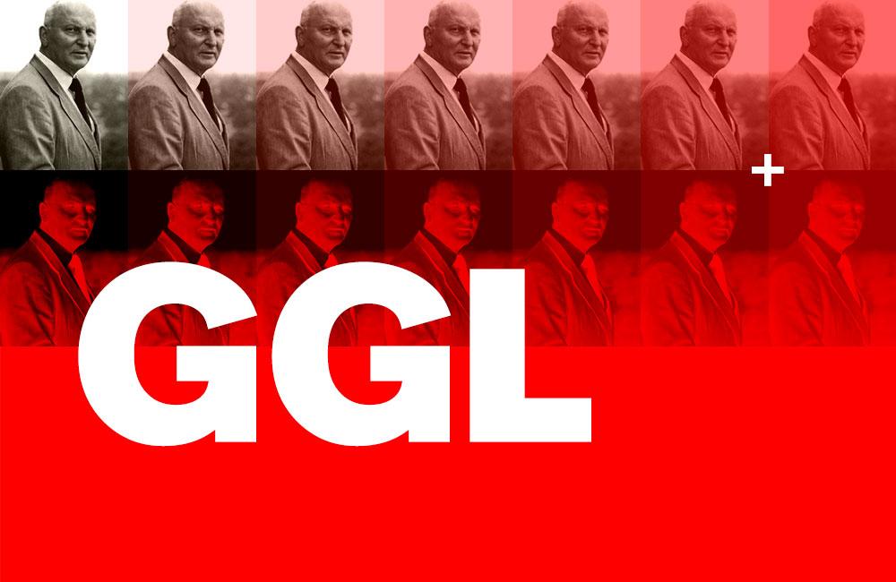 Der Typograf Günter Gerhard Lange (1921–2008) war über Jahre hinweg der künstlerische Leiter der H. Berthold GmbH. Im grafischen Gewerbe galten die drei Buchstaben »GGL« gewissermaßen als sein Markenzeichen, vorzugsweise weiss auf rot, denn das waren die Hausfarben der Font Foundry Berthold. Grafik: www.typolexikon.de