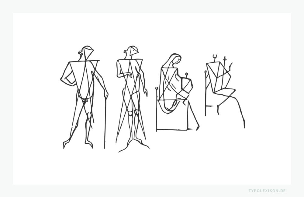 Detailstudien der »Villardschen Figuren« aus dem »Bauhüttenbuch« von Villard de Honnecourt. Quelle: »Livre de portraiture«, Bibliothèque nationale de France, Paris.