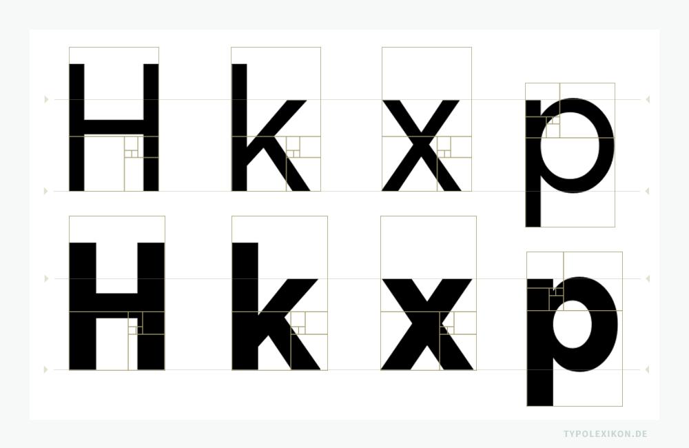 Nomen est omen?: Die »Phi« Roman (oben) und Bold (unten) des niederländischen Type Designers Cas van de Goor. Sein Statement: »Phi is a (monoline) geometric all caps typeface designed on the basis of the golden ratio.« Misst man die Typometrie der Buchstaben allerdings mathematisch nach, fällt es sehr schwer, die Letternarchitektur mit dem Goldenen Schnitt in Verbindung zu bringen. Selbst das Fibonacci-Gitter als Schablone ist in diesem Falle nicht sehr hilfreich.