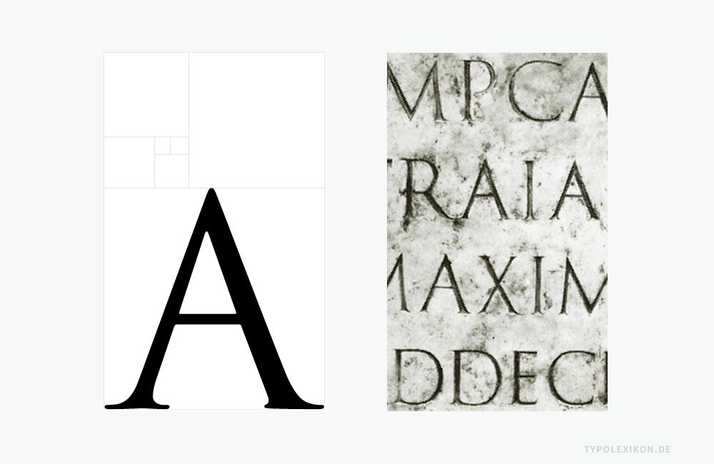 In der typografischen Literatur kursiert immer noch der Mythos, dass das berühmteste und schönste Beispiel der Capitalis Monumentalis, das Trajanische Alphabet (113 n.Chr.), nach dem Goldenen Schnitt konstruiert wurde. Schriftsachverständige gehen aber davon aus, dass sowohl der Sockel der Trajansäule, die Säule selbst als auch die Majuskeln nach dem Reihenfolgenprinzip des Archimedes »Kegel, Kugel, Zylinder« im Verhältnis 1:2:3 (Zylinder vom Radius r und der Höhe 2 r, einer Kugel vom Radius r und eines geraden Kegels vom Radius r und der Höhe 2 r) konstruiert wurden. Auf das Zweidimensionale bezogen, entspricht das nicht dem Goldenen Schnitt, sondern Quadrat, Kreis und Dreieck, also den Grundformen unseres lateinischen Alphabets. Im Beispiel (links) wird das anhand der »Trajan Pro« von Adobe und dem Fibonacci-Gitter deutlich.