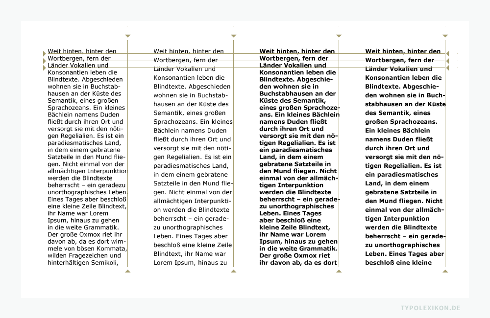 Der Grauwert ist ausschlaggebend für die Gesamtanmutung und die Lesbarkeit eines Schriftsatzes. Deshalb gilt im Segment der Lesetypografie die Regel, je dunkler und dichter der Grauwert einer Schriftfläche ist, desto unangenehmer und schwerer ist der Text lesbar. Das simple Beispiel skizziert, dass bereits zwei Parameter genügen, um den Grauwert eines Schriftsatzes zu beeinflussen. Gesetzt mit Photoshop® in der Verdana Regular und Bold von Matthew Carter, jeweils mit normalen und etwas erweiterten Zeilenabständen und Schriftlaufweiten. Infografik: www.typolexikon.de