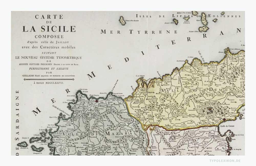 Ausschnitt einer Landkarte der Insel Sizilien vor 1850, die im typometrischen Verfahren gedruckt wurde. Als Autoren sind Wilhelm Haas, Gottlieb Preuschen und Alexis Hubert Jaillot benannt. Quelle: Universitätsbibliothek Bern, Schweiz, Magazin, Signatur MUE Ryh 4202:2.