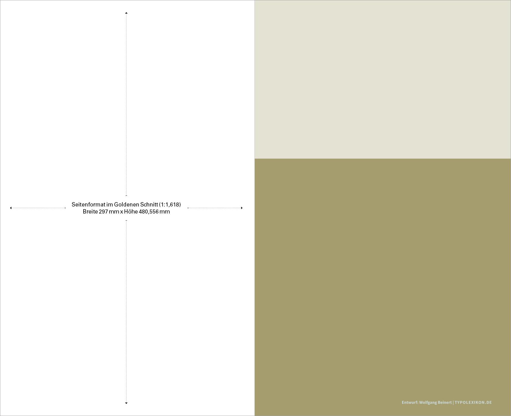 Beispiel eines Seitenformats im Goldenen Schnitt (1:1,618) und Konstruktion eines Satzspiegels nach der Fibonacci-Reihe. Schritt 1: Bestimmung eines Seitenformats im Verhältnis 1:1,618. Entwurf: Wolfgang Beinert, Berlin.