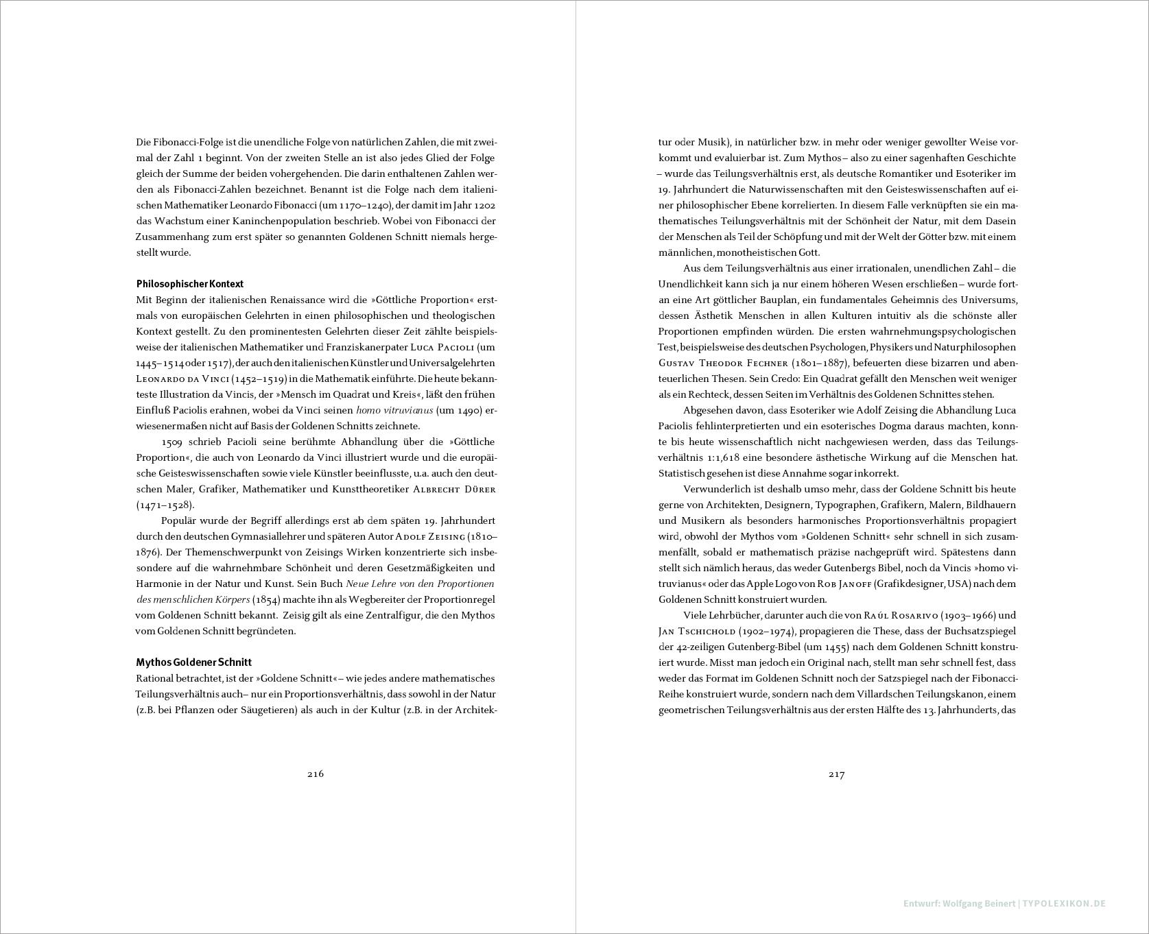 Beispiel eines Seitenformats im Goldenen Schnitt (1:1,618) und Konstruktion eines Satzspiegels nach der Fibonacci-Reihe. Schritt 4: Fertiger Satzspiegel im Teilungsverhältnis 21:34. Entwurf: Wolfgang Beinert, Berlin.