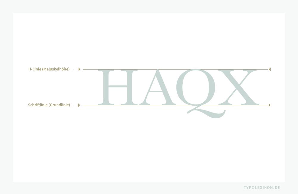 Das deutsche Alphabet führt 26 Majuskeln im Zweiliniensystem von der Schriftlinie (Grundlinie) bis zur H-Linie, wobei die Majuskeln J und Q unterhalb der Grundlinie mehr oder weniger deutliche Ausschweifungen (Überhänge) besitzen. Der Schriftgrad eines reinen Majuskelalphabets wird an der Majuskelhöhe (H-Linie) gemessen. Beispiel gesetzt in einer Vorklassizistischen Antiqua.