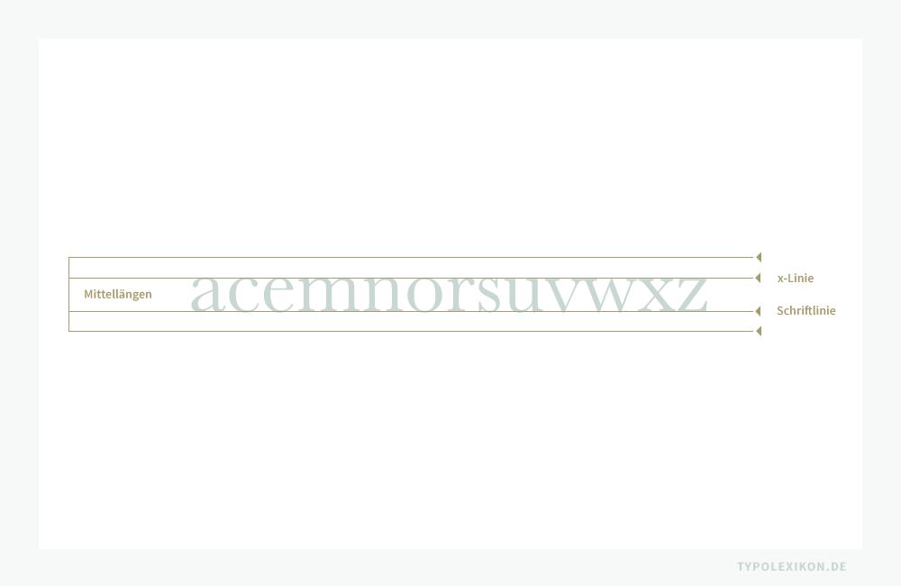 Dreizehn Minuskeln (a, c, e, m, n, o, r, s, u, v, w, x und z) unseres Alphabets verfügen nur über Mittellängen, die durch die Schriftlinie (Grundlinie) und die x-Linie begrenzt werden.