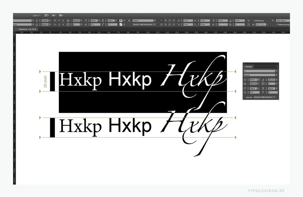 Schriftgrade in der digitalen Typografie sind grundsätzlich relativ, da keine einheitlichen metrologische Bemessungsgrundlagen existieren, um Schriftgrade systematisch zu ermitteln, einheitlich zu bemessen und auf unterschiedlichen Trägermaterialien zu vergleichen. Beispiel: Eine »Minion Pro« von Robert Slimbach, eine »Arial« von Robin Nicholas und Patricia Saunders sowie eine »Zapfino« von Hermann Zapf (1918—2015), gesetzt in Adobe InDesign® CC (2017) im Originalmaßstab (1:1) in der jeweils gleichen Schriftgröße von 20 mm. Die Schriftgrade weichen sowohl optisch als auch rechnerisch erheblich voneinander ab. Eine Bemessungsgrundlage für den Schriftgrad der Open Type Fonts erschließt sich nicht.
