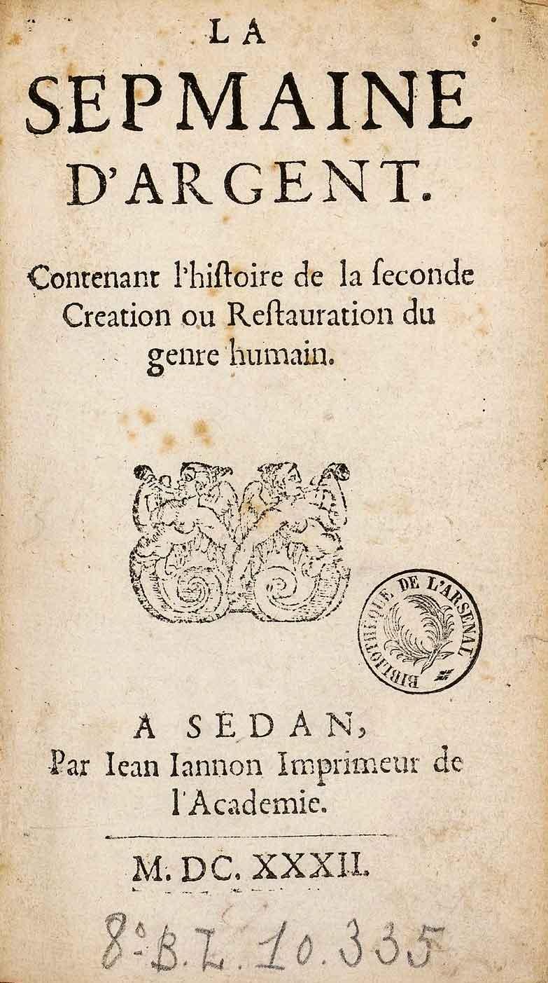 Haupttitel aus »La sepmaine d'Argent« von Jean Jannon aus dem Jahre 1632. Quelle: Bibliothèque nationale de France (Französische Nationalbibliothek).