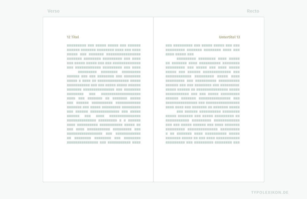 Unter einem »lebenden Kolumnentitel« versteht man in der Buchtypographie eine Pagina (Seitenzahl) mit beigefügtem Text, der auf den nachfolgenden Seiten seinen Inhalt ändern kann. In der traditionellen Buchgestaltung trägt die linke Buchseite (Verso) meist den übergeordneten Titel und die rechte Seite (Recto) den untergeordneten Titel, wobei in der Regel der rechtsseitige Textinhalt häufiger gewechselt wird. Verbindliche Vorgaben für den Schriftstil, den Schriftgrad, die Satzausrichtung und die Zurichtung eines toten Kolumnentitels existieren nicht. In diesem Beispiel ist er im Kopf der Kolumne innerhalb des Satzspiegels jeweils links- und rechtsbündig angeordnet. Infografik: www.typolexikon.de