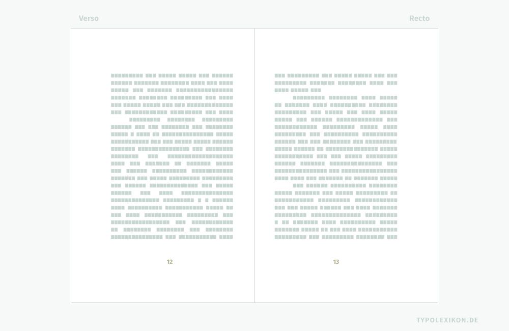 Unter einem »toten Kolumnentitel« versteht man in der Buchtypografie die solitär stehende Pagina, also eine durchgehende Seitenzahl eines Buches. Gerade Paginas (z.B. 12, 14, 16 …) stehen auf der linken Buchseite (Verso), ungerade Seitenzahlen (z.B. 11, 13, 15 …) auf der rechten Buchseite (Recto). Verbindliche Vorgaben für den Schriftstil, den Schriftgrad, die Satzausrichtung und die Zurichtung eines toten Kolumnentitels existieren nicht. In diesem Beispiel ist die Pagina im Fußsteg im Axialsatz angeordnet. Infografik: www.typolexikon.de