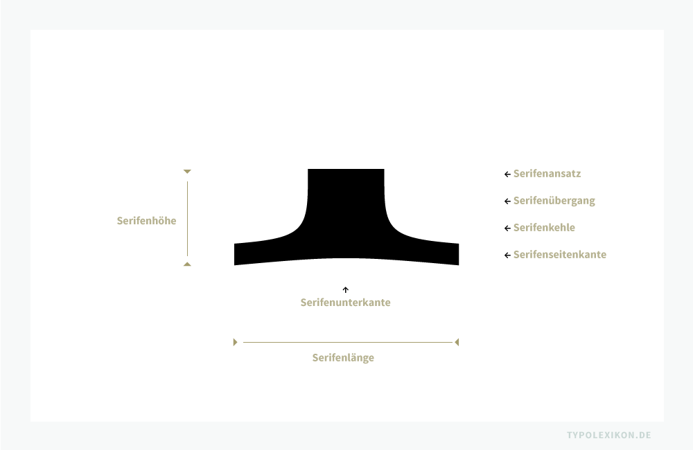 Die wichtigsten Parameter zur Beschreibung einer doppelseitigen Standserife: Serifenhöhe, Serifenlänge, Serifenansatz, Serifenübergang, Serifenkehle, Serifenseitenkante und Serifenunterkante. Beispiel: Standserife der Majuskel »I« der Corporate A im normalen Schriftschnitt, einer Französischen Renaissance-Antiqua von Kurt Weidemann (1922–2011).