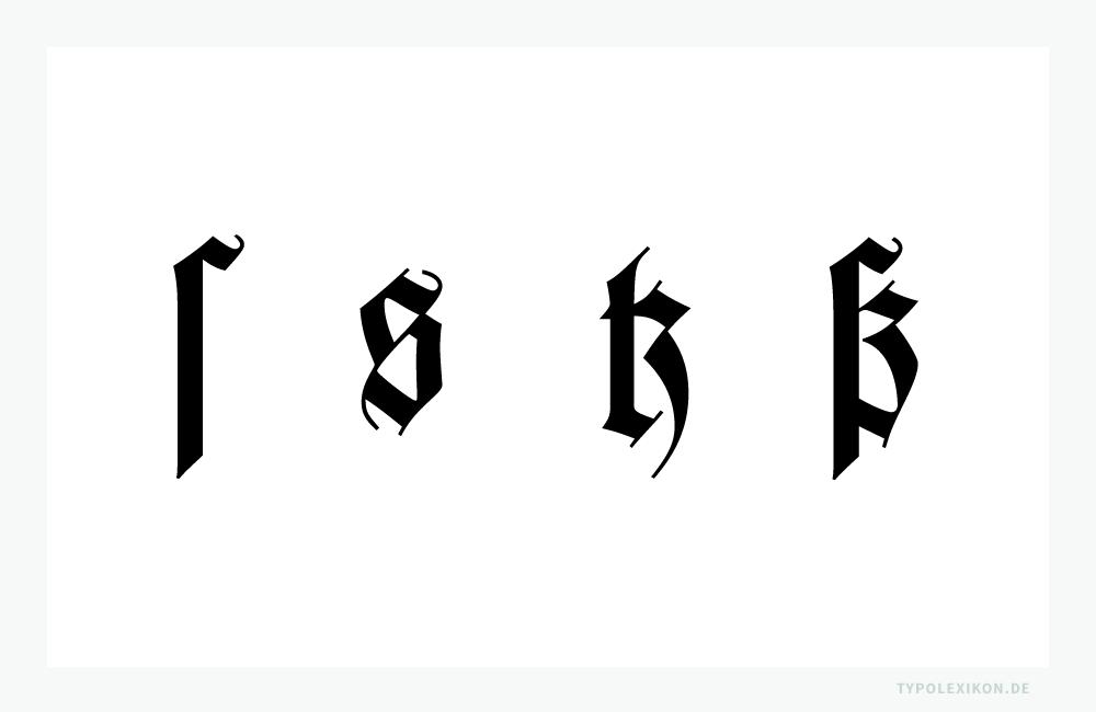 Die Entwicklung der Ligatur »ß« (Eszett, Scharfes s) anhand der »Wilhelm-Klingspor-Schrift« von Rudolf Koch (1876–1934). Links die zwei »s« (Langes s »ſ« und Rundes s »s«) einer Gebrochenen Schrift. Rechts die Ligaturen für »tz« und »ß«. Lehrmeinung ist, dass sich bei Gebrochenen Schriften die Ligatur »ß« aus »ſz« entwickelt hat, bei Antiquaschriften aus »ſs«.