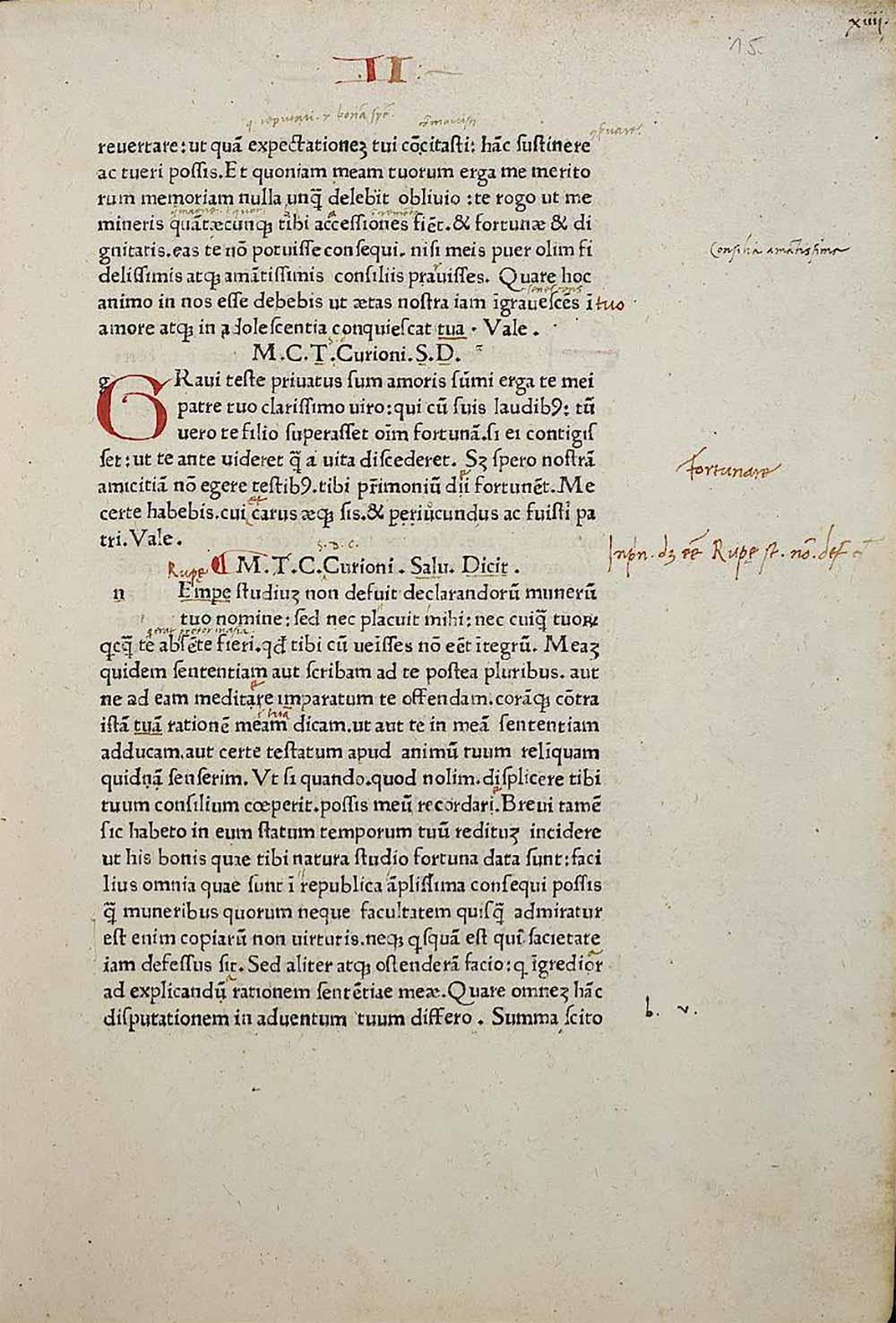 Eine Innenseite (Recto) der Inkunabel »Epistulae ad familiares« von Marcus Tullius Cicero. Gedruckt von Dominicus de Lapis (1476-1482) in Bologna. Ein Wiegedruck aus dem Jahre 1477, der in einer frühen Venezianischen Antiqua gedruckt wurde. Die Inkunabel wurde 1493 in Florenz von Schülern von Angelus Politianus unter dessen Aufsicht mit zwei Handschriften von Ciceros Epistulae ad familiares kollationiert, von denen sich eine im Besitz des florentinischen Kanonikers Francesco Minerbetti (1507–1574) befand. Quelle und weiterführende Informationen: Universitätsbibliothek Heidelberg, online verfügbar unter http://digi.ub.uni-heidelberg.de/diglit/cicero1477/0001/thumbs?sid=594a2018c2434bc12c2c4fac57502cc0#/current_page (8.6.2017).