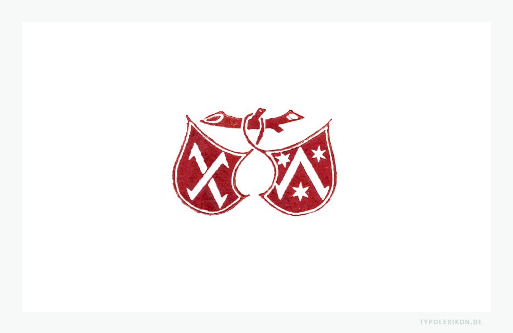 Reproduktion des Druckerzeichens um 1471/1477 des Mainzer Prototypographen Peter Schöffer (um 1425/1430–1502/1503). Es gilt als das älteste europäische Druckersignet: zwei miteinander verbundene, an einem Ast hängende Wappenschilde, die mit stilisierten Winkelhaken und Sternen verziert sind.