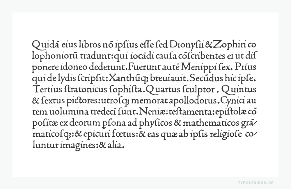 Eine Schriftprobe (Schnellwertskizze) der Litterae Venetae (Venezianische Antiqua) von Nicolas Jenson (um 1420–1480), wie sie um 1475 bei der Gründung der Offizin »Nicolaus Jenson Sociique« (Nicolaus Jenson undGefährten) in Gebrauch war.