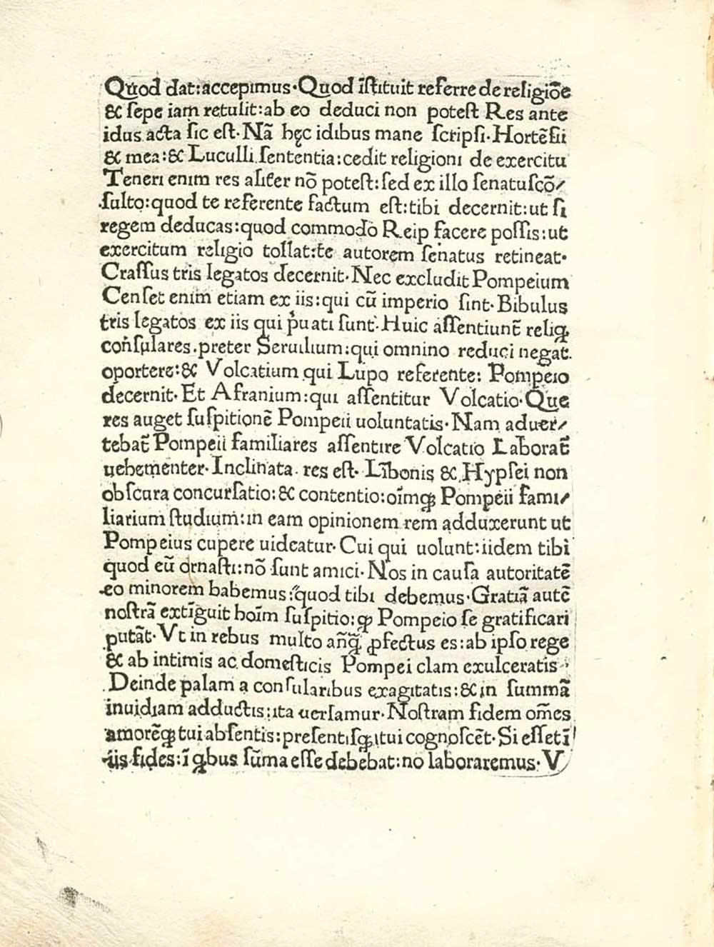 Eine Innenseite der »Epistulae ad familiares« von Marcus Tullius Cicero (106–43 v.Chr.). Gedruckt um 1471 von der Offizin von Arnold Pannartz und Conrad Sweynheym in Rom. Quelle: MDZ der Bayerische Staatsbibliothek, München. Online verfügbar unter http://daten.digitale-sammlungen.de/~db/0006/bsb00066416/images/ (3.8.2017).