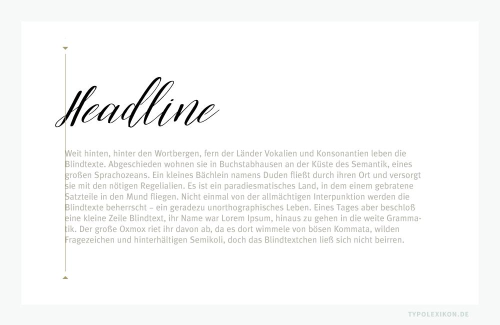 Im Titelsatz empfiehlt es sich oft, Headlines aus ästhetischen Gründen mehr oder weniger über die Satzkante des Kolumnenrasters zu stellen. Im Beispiel die Script »Alivia« von Kelly Reed über einer »Meta Plus« als Copy von Erik Spiekermann (* 1947).