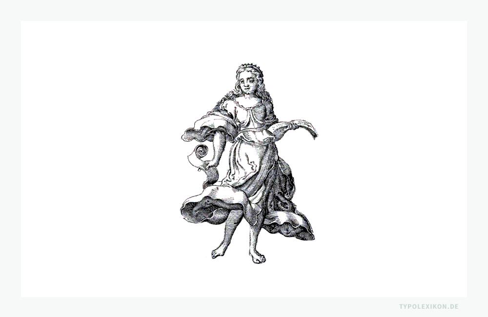 Skizze der Muse »Kalliope« nach einem Kupferstich aus P. Ovidii Metamorphosis von Virgil Solis (1514–1562). In der bildenden Kunst und der Typografie wird Kalliope mit Griffel und Schreibtafel oder Manuskripten als ihren charakteristischen Attributen dargestellt.