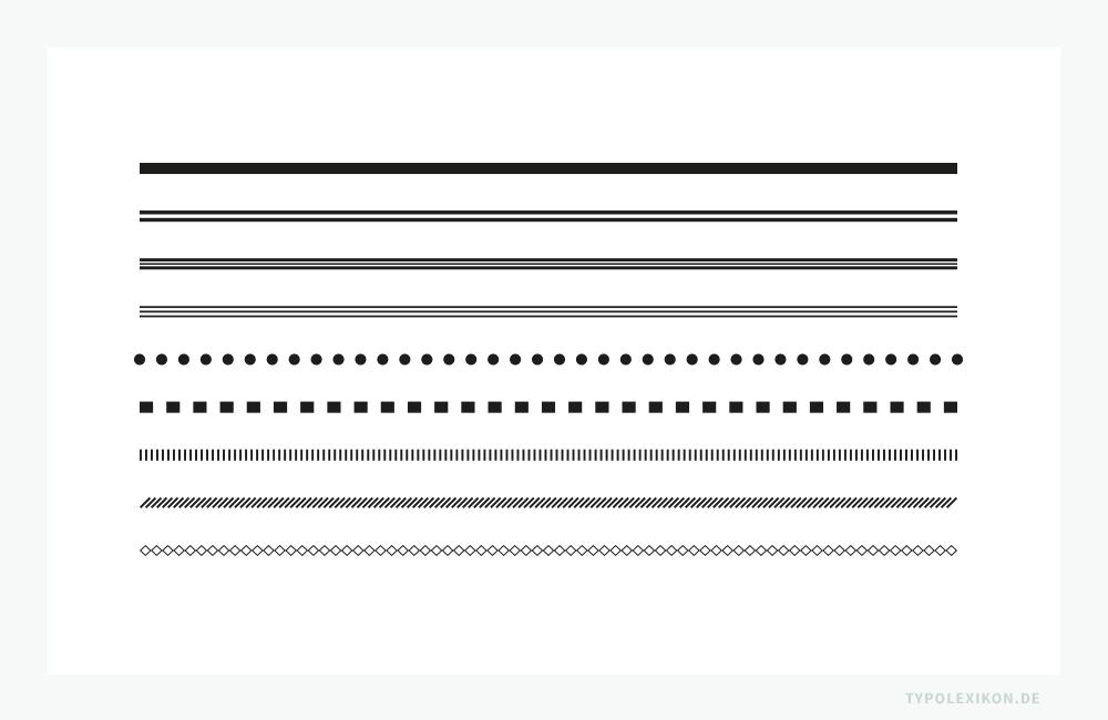 Einfache Linienbilder in unterschiedlichen Designs, Linienstärken und Linienlängen können in der Regel mit einer Desktop Publishing Software, z.B. mit InDesign® von Adobe® oder QuarkXpress® von Quark®, generiert werden. Zier- und Schmucklinien in komplexeren Designs und Ausführungen sind allerdings nur mit speziellen OpenType Fontsoder in Form von separat angelegten Illustrationen möglich.