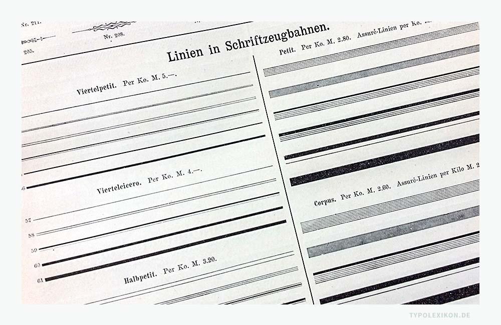 Linien in Schriftzeugbahnen für den Bleisatz. Abbildung: Schriftmusterbuch »Schrift-Proben« der Schriftgießerei Julius Klinkhardt, Leipzig und Wien, Handausgabe, ca. 1885.