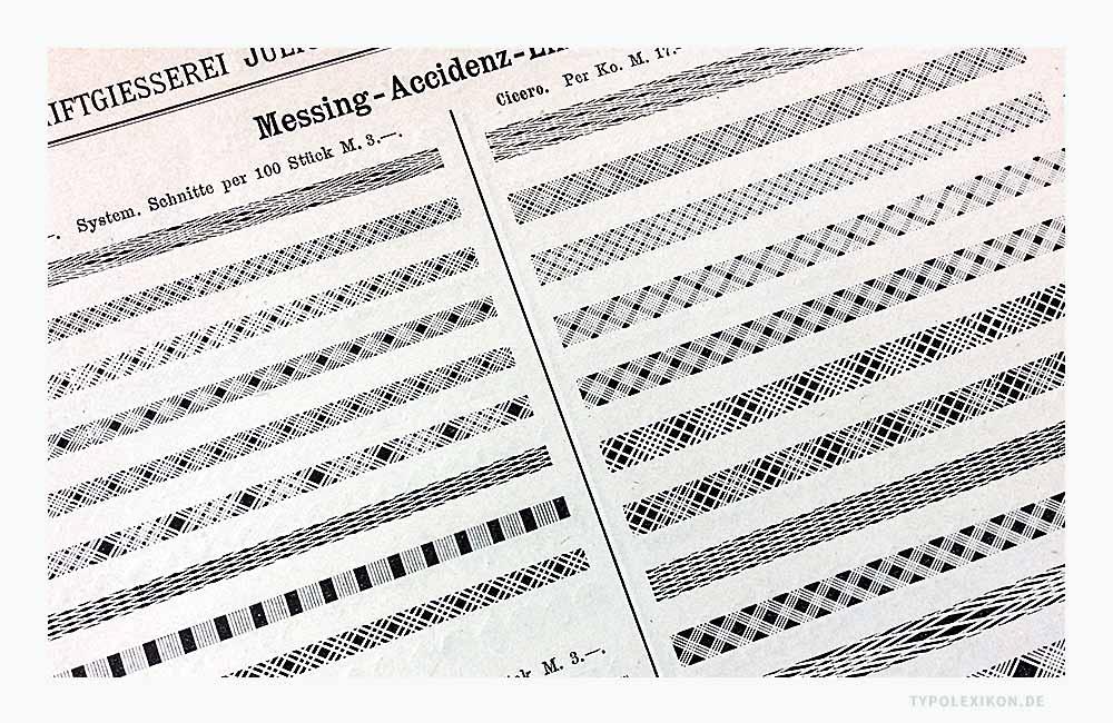 Messing-Accidenz-Linien für den Bleisatz. Abbildung: Schriftmusterbuch »Schrift-Proben« der Schriftgießerei Julius Klinkhardt, Leipzig und Wien, Handausgabe, ca. 1885.
