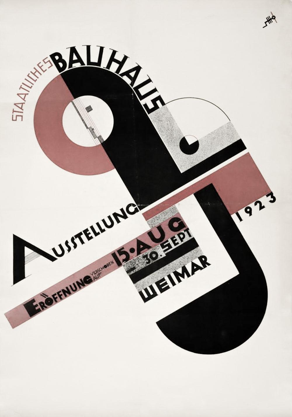 Plakat des Typografen Joost Schmidt (1893–1948) für eine Ausstellung des Bauhauses in Weimar, Akzidenzauflage mit nachträglicher Korrektur, 1923. Quelle des Bildzitats: Sammlung Wolfgang Beinert.