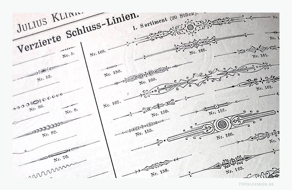 »Verzierte Schluss-Linien« für den Bleisatz. Abbildung: Schriftmusterbuch »Schrift-Proben« der Schriftgießerei Julius Klinkhardt, Leipzig und Wien, Handausgabe, ca. 1885. Foto: www.typolexikon.de