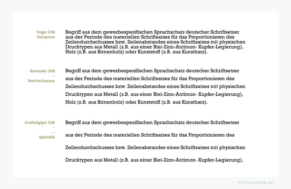 Wie beim Zeilendurchschuss, wird das Proportionieren des Zeilenabstands (ZAB) eines glatten Satzes auch heute noch als »Durchschießen«, ein normaler ZAB als »Durchschossen«, ein enger ZAB als »Kompress« und ein großzügiger ZAB als »Splendid« bezeichnet. Als Faustregel für einen durchschossenen ZAB gilt: Der optimale Durchschuss hat mindestens die Majuskelhöhe, bestenfalls die hp-Höhe des verwendeten Schriftgrades.