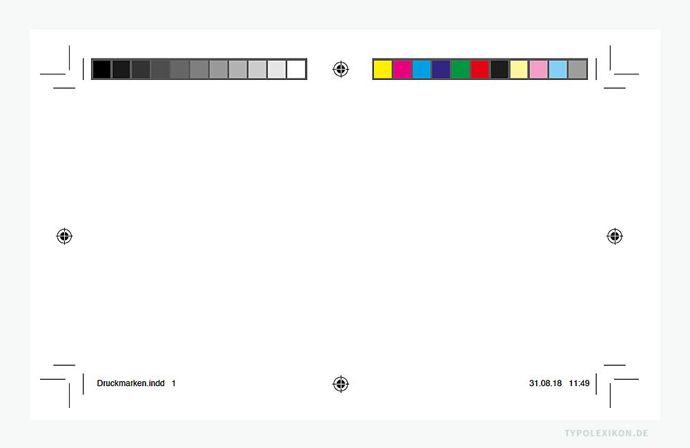 Beispiel von einfachen Druckmarken, die DTP Publishing Software, hier von InDesign® von Adobe®, automatisch generieren kann. Meist reichen diese für das professionelle Ausschießen mehrseitiger Druckformen für die Bogenmontage nicht aus. Deshalb verwenden Druckereien oft ihre eigenen Druckmarken, z.B. optimierte Farbkontrollstreifen oder komplexe Strich- oder QR-Codes. Infografik: www.typolexikon.de