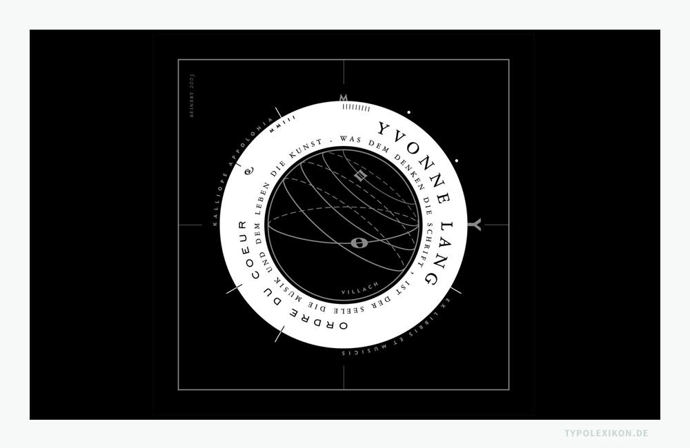 Typografisches Exlibris einer Musikwissenschaftlerin und Germanistin aus dem Jahre 2003. Dieses quadratische Buchbesitzeichen enthält vielerlei Andeutungen, die sich auf den Lebensweg der Eignerin beziehen. Grafikdesign:: © Wolfgang Beinert, Berlin.