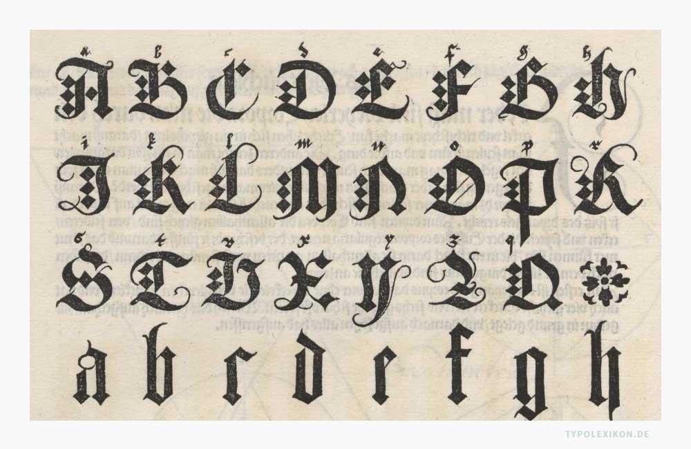 Frakturinitialen von Albrecht Dürer (1471–1528) aus seinem Buch »Underweysung der messung mit dem zirckel un richtscheyt in Linien (...). Quelle:Sächsische Landesbibliothek -Staats- und Universitätsbibliothek Dresden.