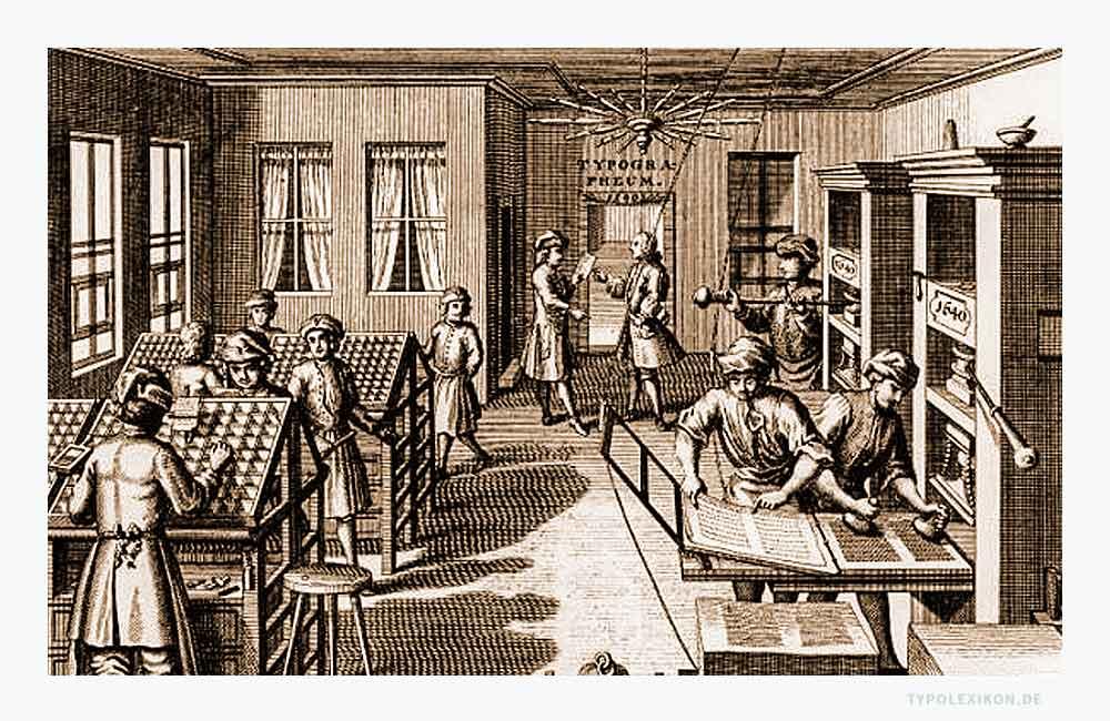 Offizin ist die althergebrachte Bezeichnung für eine Buchdruckerei. Auch als »Officina Typographeum«, »Druckoffizin«, »Drucker-Offizin« oder »Buchdruckerey« bezeichnet. Der reproduzierte Holzstich illustriert eine Offizin im 17. Jahrhundert. Quelle: Archiv für Buchgewerbe, um 1912, Verlag des Deutschen Buchgewerbevereins, Leipzig.