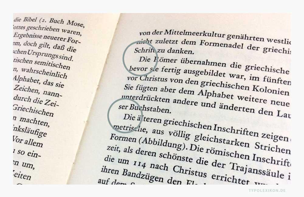 Texteinzüge (Einzüge) werden im Umbruch primär dazu verwendet, um Textpassagen in Absätze zu gliedern. Beispiel: Zwei Einzüge auf einer rechten Seite eines Blocksatzes des Lehrbuchs »Erfreuliche Drucksachen durch gute Typographie« von Jan Tschichold (1902–1974).