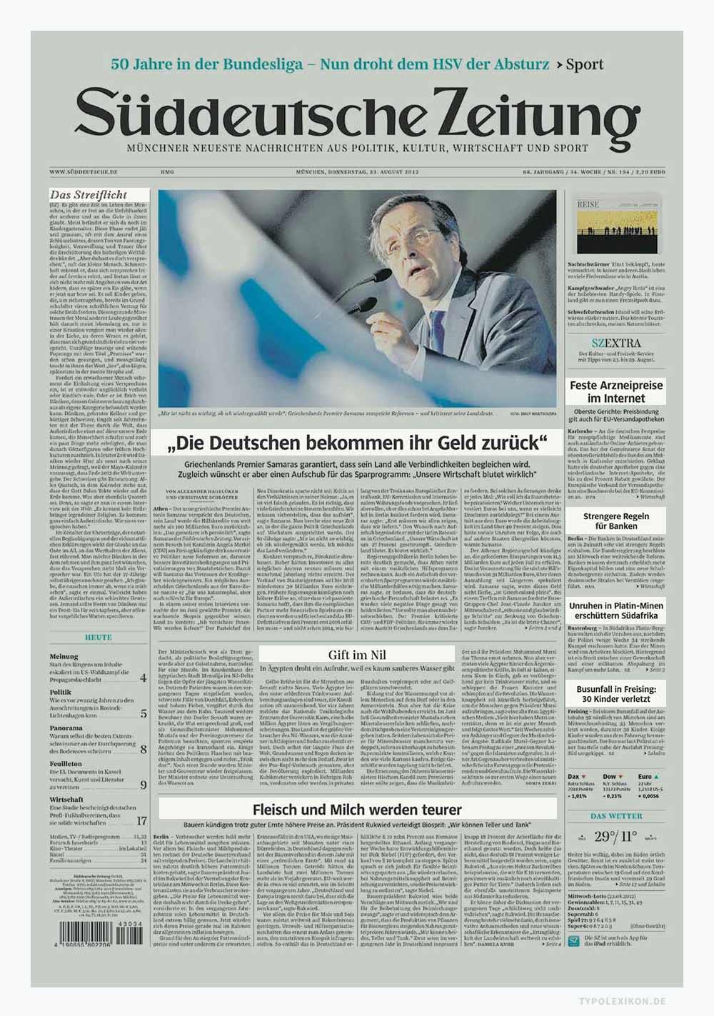Unterschiedliche Headlines im Layout der Süddeutsche Zeitung. Die Überschriften dienen nicht nur als Eyecatcher (Blickfang), sondern auch zur Strukturierung der Seite. Bildzitat: Süddeutsche Zeitung, München.
